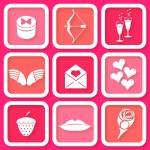 Set of 9 retro pink icons of Valentine's day symbols — Stock Vector