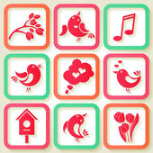 Set of 9 spring icons with birds and flowers — Stock Vector