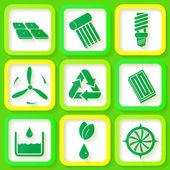Set of 9 retro icons of renewable energy — Stock Vector