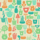 Seamless vintage background with flowers in pots — Stock Vector