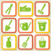 Set of 9 icon of garden instruments — Stock Vector