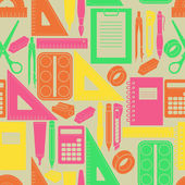 Seamless retro pattern with office equipment — Stock vektor