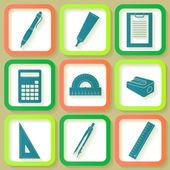 Eğitim ve sanat araçların 9 simge kümesi — Stok Vektör