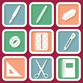 Set of 9 icons of instruments for education and art — Stock vektor