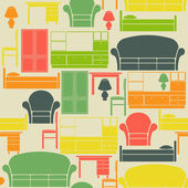 Seamless vintage pattern with furniture elements — Stock Vector