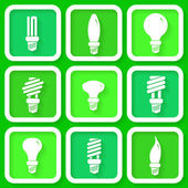 Set of 9 green icons of energy saving lamps — Vecteur