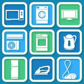Set of 9 retro icons of domestic electric appliances — Stock Vector
