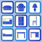 Set of 9 retro blue icons of house furniture — Stockvektor