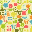 Stock Vector: Seamless retro pattern with kitchen utensils