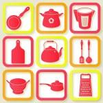 Set of 9 retro icons of kitchen utensils — Stock Vector #37714623