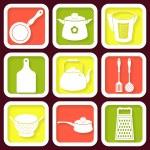 Set of 9 retro icons of kitchen utensils — Stock Vector #37714643