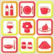 Set of 9 retro icons of kitchen utensils — Stock Vector
