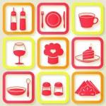 Set of 9 retro icons of kitchen utensils — Stock Vector