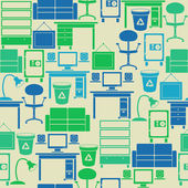 Seamless retro vintage pattern with office furniture — Vettoriale Stock