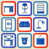 Set of 9 retro icons with office furniture — Stock Vector