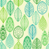 Seamless pattern with green ornate leaves — Stock Vector