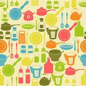 Sans couture rétro modèle avec ustensiles de cuisine — Vecteur