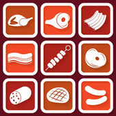 Set of 9 retro icons with meat pieces — Stock Vector