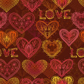 Seamless Valentine pattern with hearts — Vector de stock