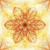 Ornamento beige circular étnico dibujado a mano — Vector de stock