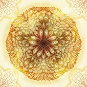 Mano disegnata etnica circolare ornamento beige — Vettoriale Stock