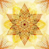 Hand drawn ethnic circular beige ornament — Stok Vektör