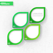 Infographic template with four green leaves — Stock vektor