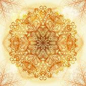 Hand drawn ethnic circular beige ornament — Vector de stock
