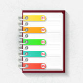 Infographic origami template. Notepad with five labels — Wektor stockowy