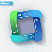 4 つの青と緑のラベル付きインフォ グラフィック テンプレート — ストックベクタ