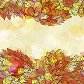 自然の要素を持つ手描き下ろしシームレスな招待状カード — ストックベクタ