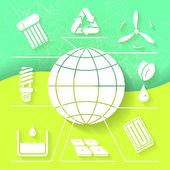 Infograhpic vert fond avec symboles de planète renouvelable de l'énergie et de la terre. eps10 — Vecteur