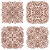 Set of four hand drawn ethnic circular mehandi ornaments — Stock Vector