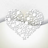 Minimalistic background with white origami paper heart. — Stock Vector