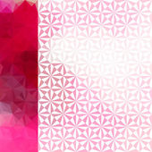 Pink defocused background with geometric triangular ornament — Stock Vector