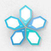 Infográfico modelo com cinco rótulos azuis — Vetorial Stock