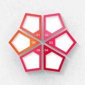 Infographic sjabloon met zes roze en oranje labels — Stockvector