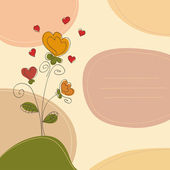 Romantic background with flowers, hearts, curlicues and place for text — Stockvector