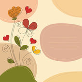 Romantic background with flowers hearts and place for text — Stockvector