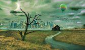 Lone hut op het veld. lonetree. flock van vogels. ballon. ghost stad. — Stockfoto