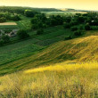 Amazing view on a village from hills. evening. summer — Stock Photo