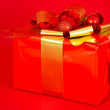 Red and Gold Wrapped Gift — Stock Photo