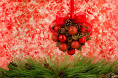 PIne Cone and Red Ball Hanging Decoration — Stock Photo