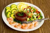 Salad with Shrimp and Avocado — Stock Photo