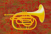French Horn on Red — Stock Photo