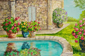 Villa with Potted Flowers — Stock Photo