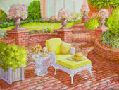 Brick Patio with Wicker Lounge Chair — Stock Photo