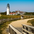 Couple Looking at a Truro, MA, Lighthouse — Stock Photo