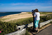 Woman Sight-seeing at a Cape Cod Beach — Stock Photo