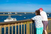 A Woman and Man Watch Boats — Stock Photo